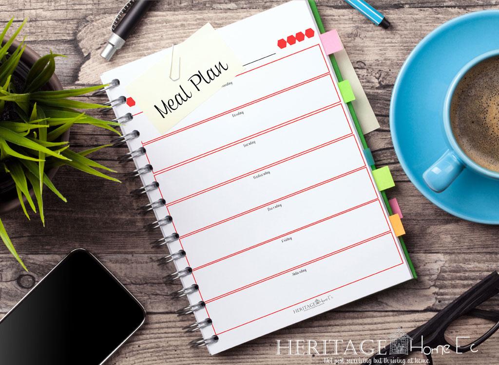 meal plan binder for simple meal planning management